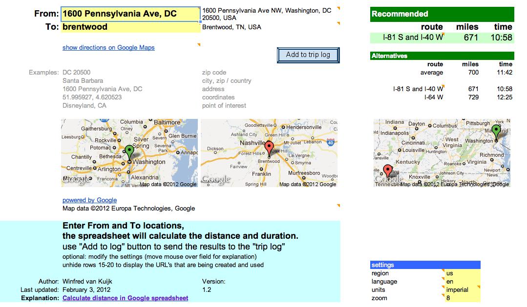 Calculate distance in Google spreadsheet | Winfred van Kuijk